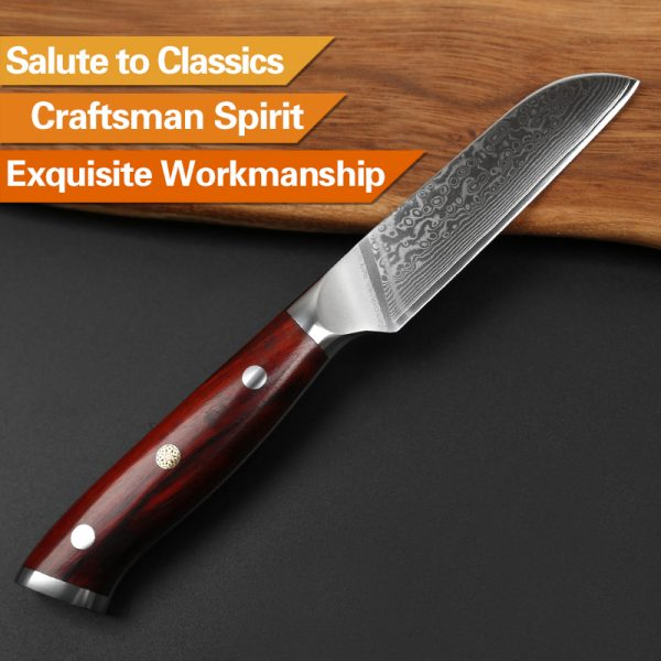 Damascus Paring Knife 3.5″ Xinzuo Yu with Rosewood Handle 4