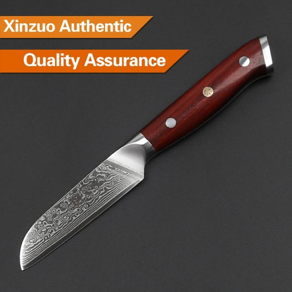 Damascus Paring Knife 3.5″ Xinzuo Yu with Rosewood Handle 3
