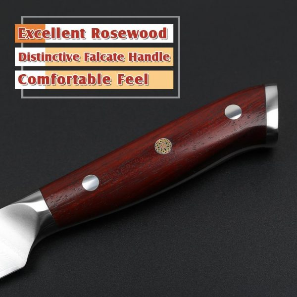 Damascus Paring Knife 3.5″ Xinzuo Yu with Rosewood Handle 2