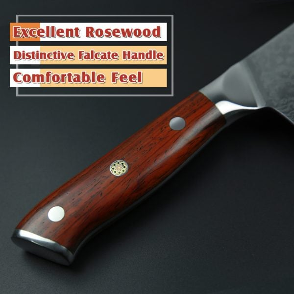 Damascus Chef Knife 10″ Xinzuo Yu with Rosewood Handle (USA) 2