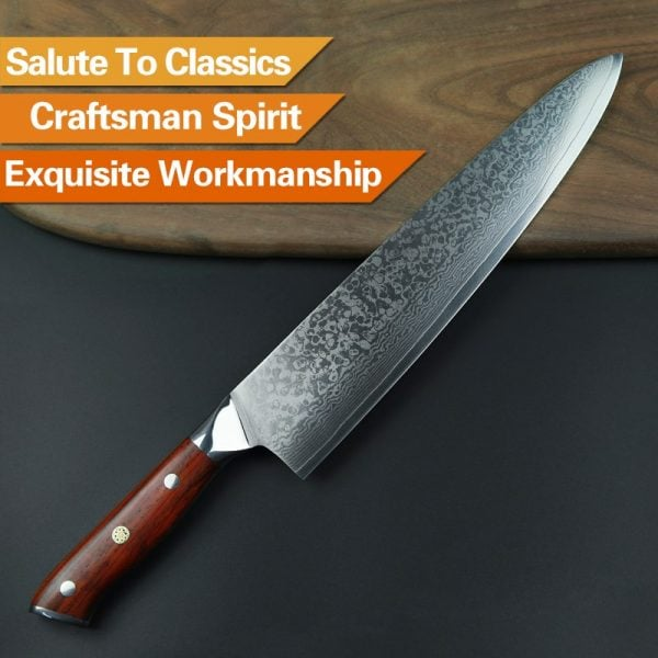 Damascus Chef Knife 10″ Xinzuo Yu with Rosewood Handle (USA) 4