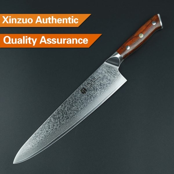 Damascus Chef Knife 10″ Xinzuo Yu with Rosewood Handle (USA) 3