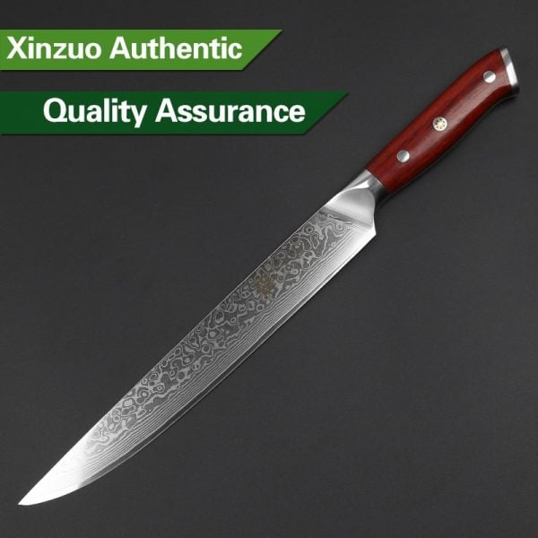 Damascus Slicing Knife 10″ Xinzuo Yu with Rosewood Handle 3