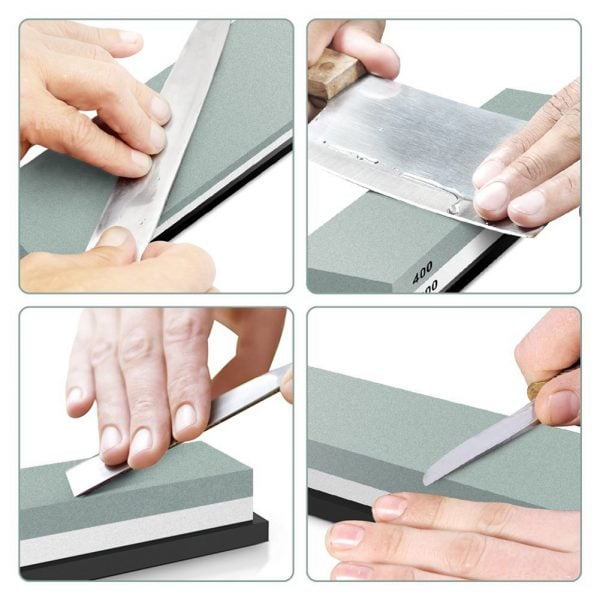 Sharpening Whetstone 400 and 1000 Grit with Rubber Holder 2