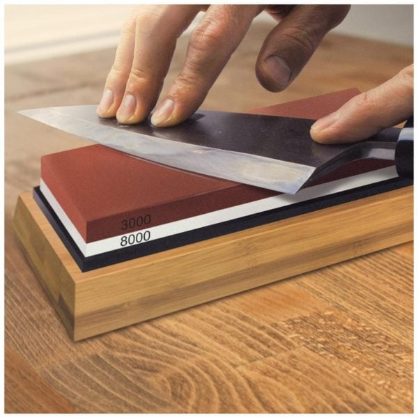 Sharpening Stone 3000 & 8000 Grit - Double Sided Whetstone Set For Knives With Non-Slip Bamboo Base and Free Angle Guide 1