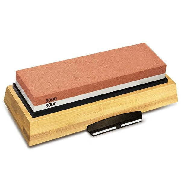 Sharpening Stone 3000 & 8000 Grit - Double Sided Whetstone Set For Knives With Non-Slip Bamboo Base and Free Angle Guide 3