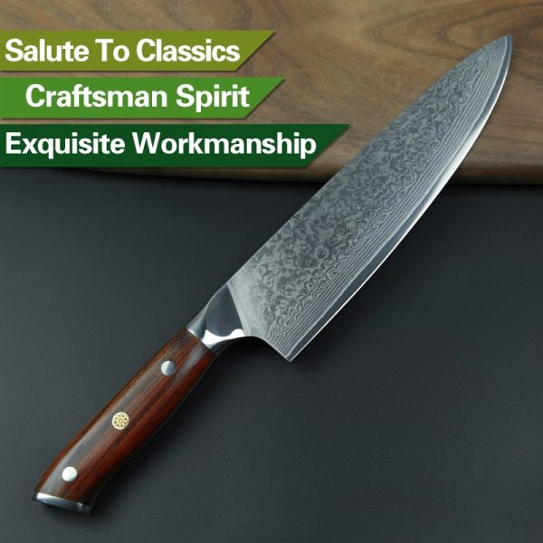 Damascus Chef Knife 8″ Xinzuo Yu with Rosewood Handle (USA) 5
