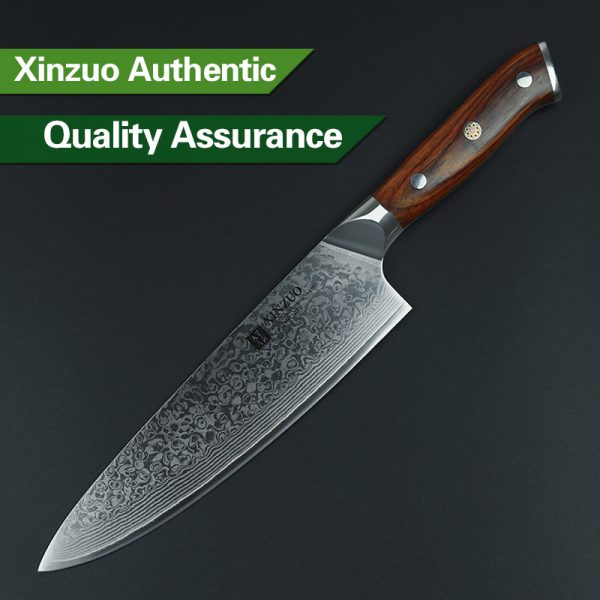 Damascus Chef Knife 8″ Xinzuo Yu with Rosewood Handle (USA) 4