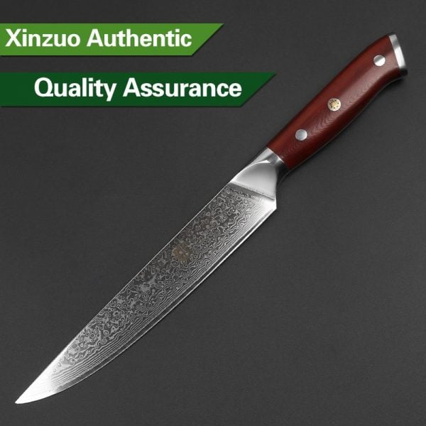 Damascus Slicing Knife 8″ Xinzuo Yu with Rosewood Handle 3
