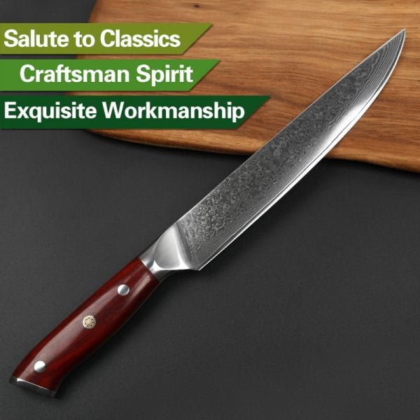 Damascus Slicing Knife 8″ Xinzuo Yu with Rosewood Handle 4