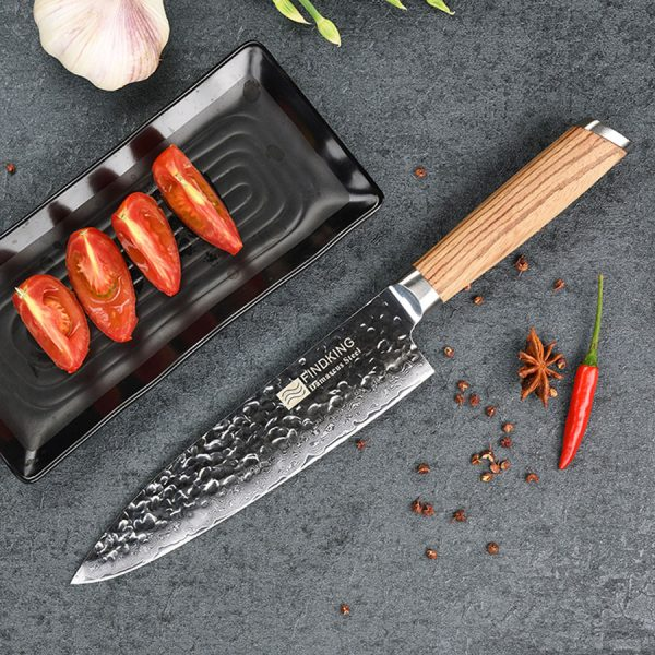 Damascus Chef Knife 8″ Findking with Zebra Wood Handle 1