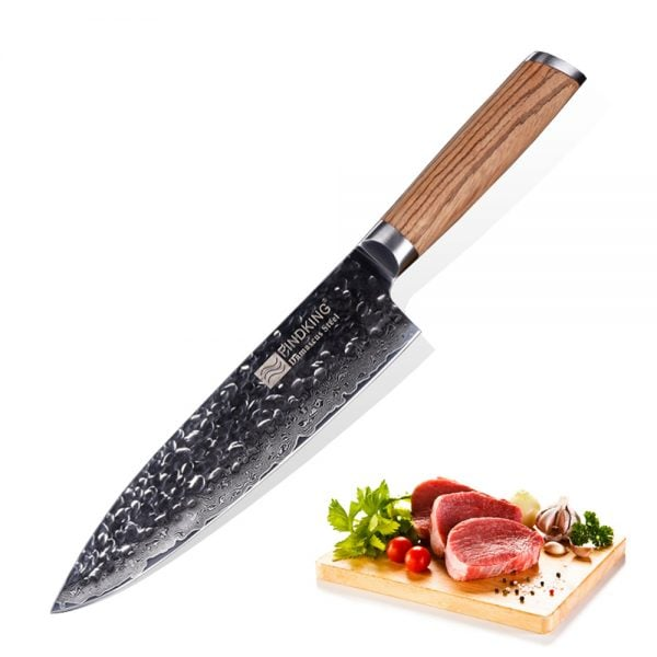 Chef Knife - 8 Inch Findking with Zebra Wood Handle - Featured Product Image