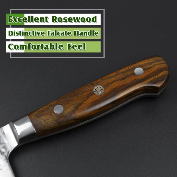 Damascus Chef Knife 8.5″ Xinzuo Yun with Rosewood Handle (USA) 2