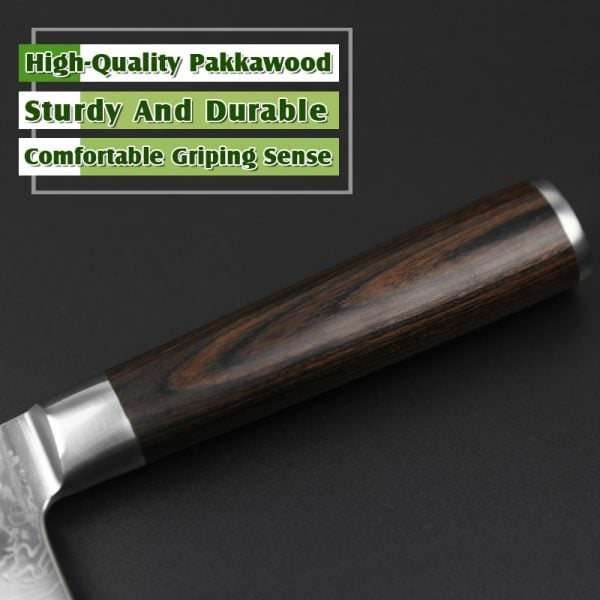 Damascus Nakiri Knife 6.8″ Xinzuo He with Pakka Wood Handle 1