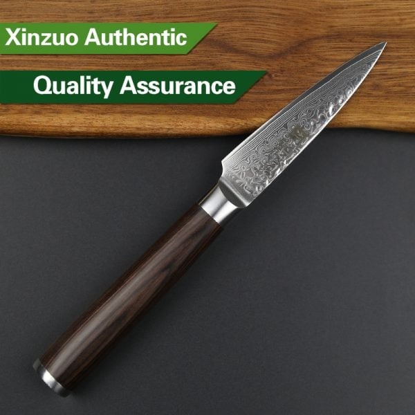 Damascus Paring Knife 3.5″ Xinzuo He with Pakka Wood Handle 3
