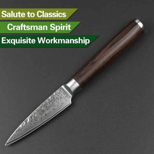 Damascus Paring Knife 3.5″ Xinzuo He with Pakka Wood Handle 4