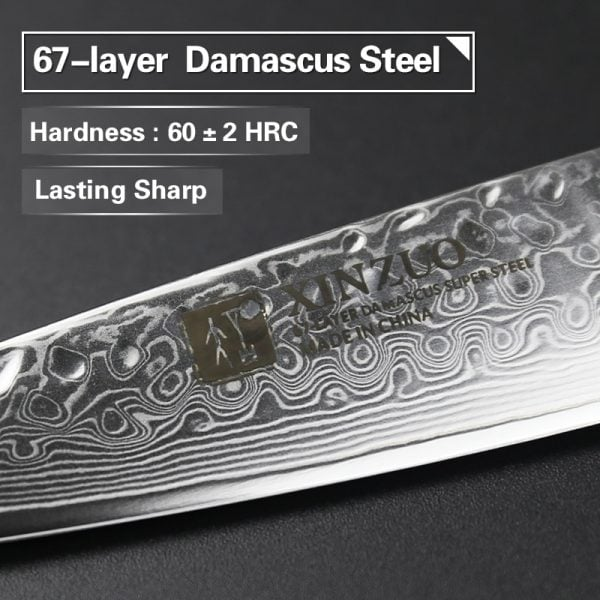 Damascus Paring Knife 3.5″ Xinzuo He with Pakka Wood Handle 1