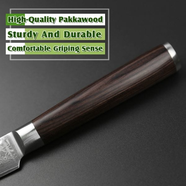 Damascus Paring Knife 3.5″ Xinzuo He with Pakka Wood Handle 2