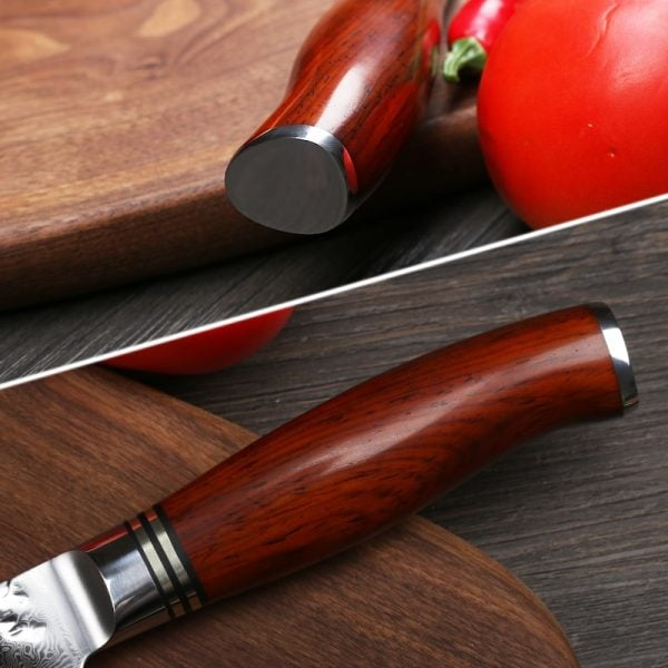 Damascus Kitchen Knife Set – 5 Piece Yarenh with Dalbergia Wood Handle 1