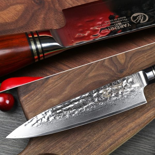 Damascus Kitchen Knife Set – 5 Piece Yarenh with Dalbergia Wood Handle 2