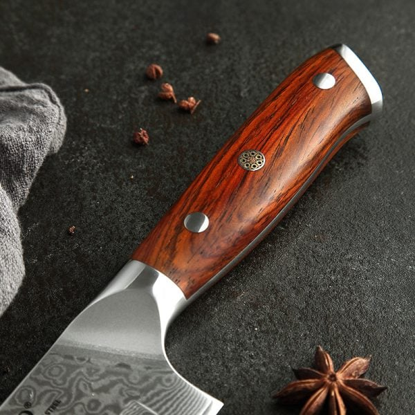Damascus Santoku Knife 7″ Xinzuo Yu with Rosewood Handle 1