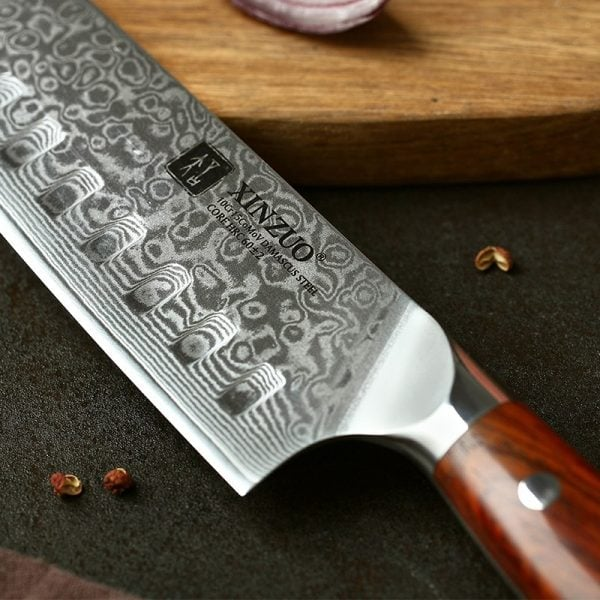 Damascus Santoku Knife 7″ Xinzuo Yu with Rosewood Handle 2