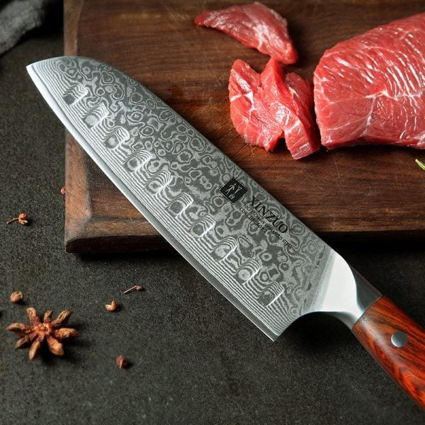 Damascus Santoku Knife 7″ Xinzuo Yu with Rosewood Handle 3