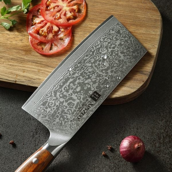 Damascus Nakiri Knife 6.5″ Xinzuo Yu with Rosewood Handle 3