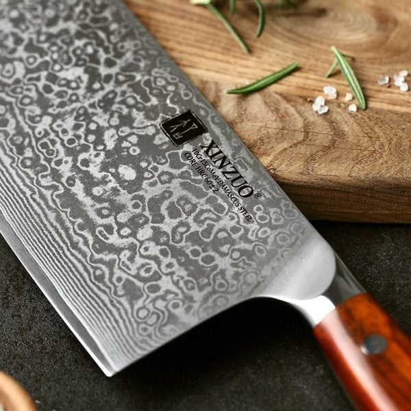 Damascus Nakiri Knife 6.5″ Xinzuo Yu with Rosewood Handle 2