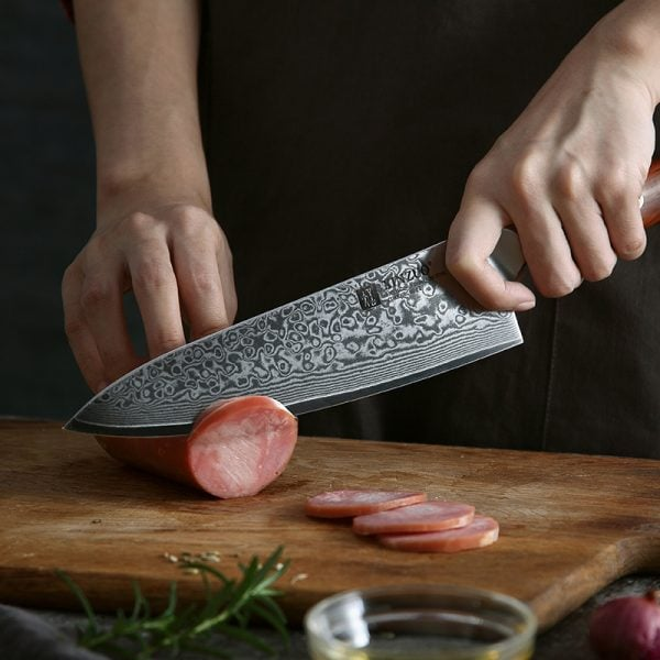 Chef Knife 8-inch Xinzuo Yu with Rosewood Handle - Cutting