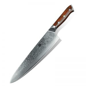 Damascus Chef Knife - 10 Inch Xinzuo Yu with Rosewood Handle - Featured Product Image
