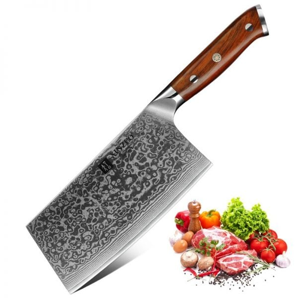 Damascus Nakiri Knife - 6.5 Inch Xinzuo Yu with Rosewood Handle - Featured Product Image