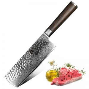 Damascus Nakiri Knife - 6.8 Inch Xinzuo He with Pakka Wood Handle - Featured Product Image