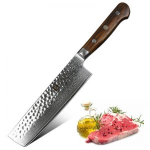 Damascus Nakiri Knife - 7 Inch Xinzuo Yun with Rosewood Handle - Featured Product Image