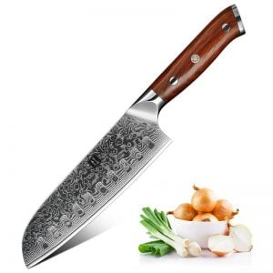 Damascus Santoku Knife - 7 Inch Xinzuo Yu with Rosewood Handle
