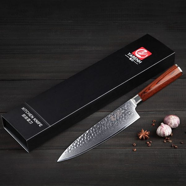 Damascus Chef Knife 8″ Yarenh with Red Pakka Wood Handle 5