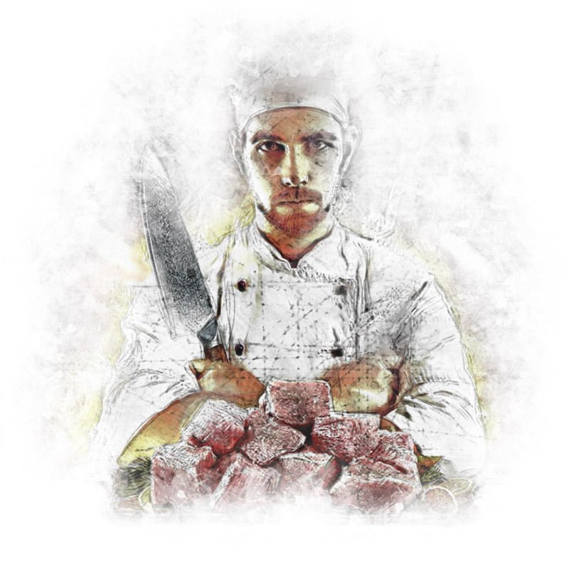 Cook Holding a Damascus Chef Knife in Hand - Illustration