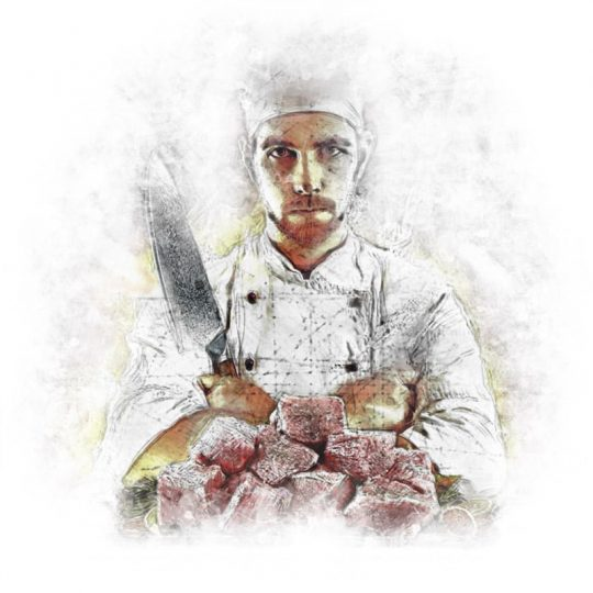 Cook Holding a Damascus Chef Knife in Hand – Illustration